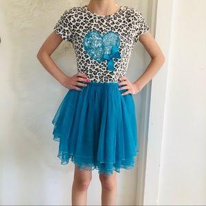 4x$25 Bonnie Jean Leopard Sequin Tulle Skirt Dress